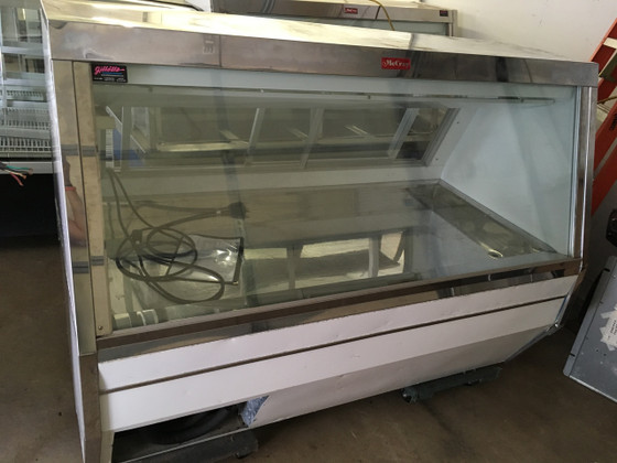 "Fish/Poultry Service Case, 71""W, double duty, self-contained refrigeration, full length gravity coil system upper level, white stainless steel ice pan with drain, stainless steel top, white interior & exterior, 1/4 HP, 115v/60/1-ph, 6.4 amps"