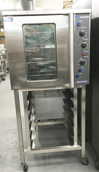 """Turbofan® Convection Oven, electric, full-size, single-deck, 30"""" assembled height, 2 speed fan, digital display time and temperature controls, electronic thermostat control, temperature range 140 - 500° F, 3-1/3"""" tray spacing, 1-hour cook cycle timer & 3-hour hold timer, water injection, (5) full-size sheet pan capacity, antiskid adjustable stainless steel feet, stainless steel exterior, with glass door, porcelain interior, ENERGY STAR®, cETLus, NSF"""