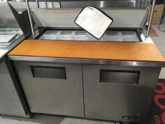 """Sandwich/Salad Unit, (12) 1/6 size (4""""D) poly pans, stainless steel insulated cover, 11-3/4""""D cutting board, stainless steel top, front, sides, aluminum back, (2) full doors, (4) shelves, aluminum interior with stainless steel floor, 5"""" castors, R290 Hydrocarbon refrigerant, 1/3 HP, 115v/60/1, 5.8 amps, NEMA 5-15P, cULus, UL EPH Classified, CE, MADE IN USA"""