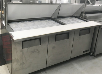 "Mega Top Sandwich/Salad Unit, (30) 1/6 size (4""D) poly pans, (2) stainless steel insulated covers, 8-7/8""D cutting board, stainless steel top, front and sides, aluminum back, (3) full doors, (6) shelves, aluminum interior with stainless steel floor, 5"" castors, R290 Hydrocarbon refrigerant, 1/2 HP, 115v/60/1, 7.2 amps, NEMA 5-15P, cULus, UL EPH Classified, MADE IN USA"