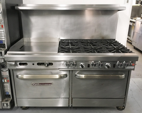 """Southbend 460AA-2TR Ultimate Restaurant Range, gas, 60"""", (3) star/sauté burners front, (3) non-clog burners rear, (1) 24"""" griddle right, thermostatic controls, standing pilot, (2) convection ovens with battery spark ignition, includes (3) racks per oven, 22-1/2"""" flue riser with shelf, stainless steel front, sides, shelf & 6"""" adjustable legs, 310,000 BTU, cCSAus, CSA Flame, CSA Star, NSF. NATURAL GAS. NBm."""