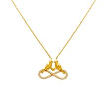 253 002 Fancy Infinity Birds CZ Necklace