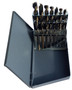 "1/16"" - 1/2"" HSS Black & Gold Mechanic Length Drill Bit Set, Metal Case, 15 Pieces (1/64 Increments)"