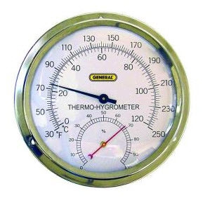General Tools B600FC Round Brass Wall Mount Thermohygrometer