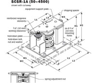 Vibro Acoustics SCSR-1A-600, 1 (25 mm) Deflection SCSR Seismic Restrained Spring Isolators (for Concrete), 600 lbs rated load
