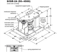 Vibro Acoustics SCSR-2A-1200, 2 (50 mm) Deflection SCSR Seismic Restrained Spring Isolators (for Concrete), 1200 lbs rated load