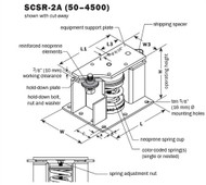 Vibro Acoustics SCSR-2A-2200, 2 (50 mm) Deflection SCSR Seismic Restrained Spring Isolators (for Steel), 2200 lbs rated load