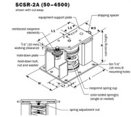 Vibro Acoustics SCSR-2A-2600, 2 (50 mm) Deflection SCSR Seismic Restrained Spring Isolators (for Steel), 2600 lbs rated load