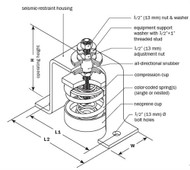 Vibro Acoustics SFS-SA-400, 1 (25 mm) Deflection SFS Seismic Floor Mounted Isolator, 400 lbs rated load