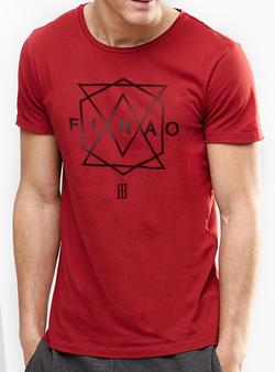 Men's Geometric Tee - Red 100% Cotton Crew Neck