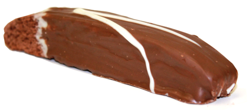 A chocolate biscotti cookie double dipped in chocolate. Chocolate through & through!