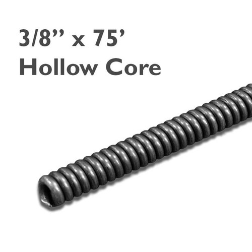 "3/8"" x 75 hollow core drain snake for drains sized at 2"" to 3"" in diameter to clear clogs in residential drain lines."