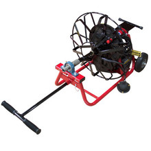 """J-Maxx sewer machine with 19"""" open metal cable reel that comes with 1/2"""" x 75' hollow core drain cable"""