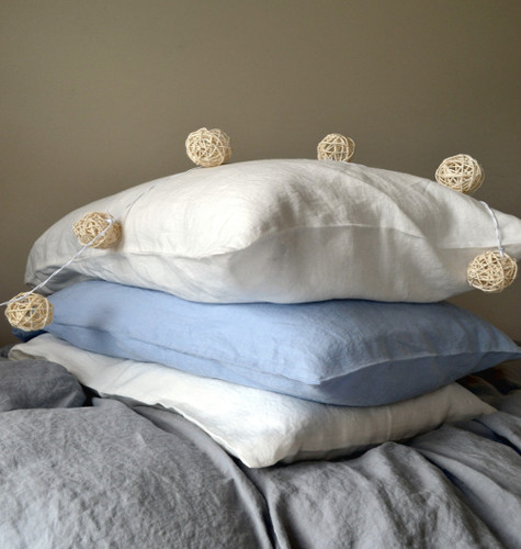 White Linen Pillowcase With Ties