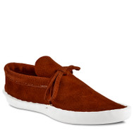 Low-Cut style moccasin by San Agustin Trading Co. in Tucson, Az. This style has front tie lace and machine stitched piping that runs just below the ankle.