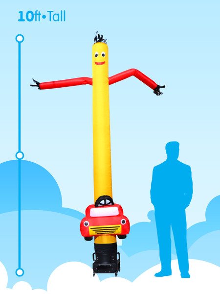 Sky Dancer Car Shape Yellow with Red - 10ft