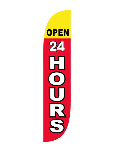 Open 24 Hours Feather Flag