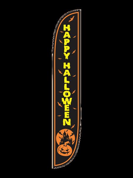 Happy Halloween Black Feather Flag