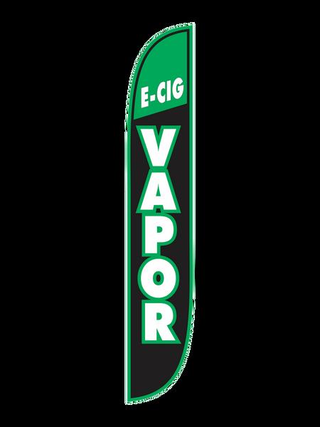 E-Cig Vapor Black & Green Feather Flag
