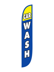 Car Wash Blue & Yellow Feather Flag