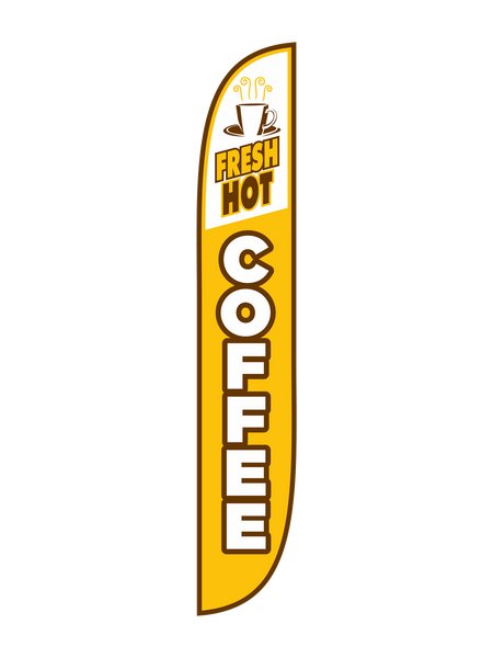 Fresh Hot Coffee - Yellow Feather Flag