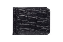 Money Clip Genuine Alligator Wallet Glazed Black