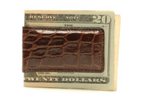 Magnetic Genuine Alligator Money Clip Glazed Brown