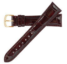 Genuine Alligator Watch Band Glazed Burgundy