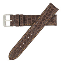 Genuine Alligator Watch Band Matte Brown - Round Grain