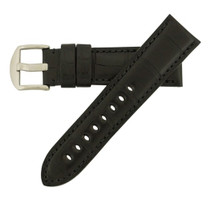 Genuine Alligator Watch Band Matte Black - Panerai Style