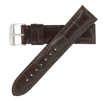Genuine Alligator Watch Band Matte Dark Brown