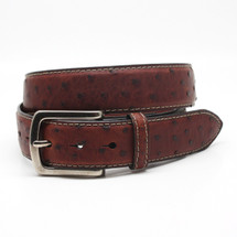 Genuine Ostrich Belt Waxed Brandy