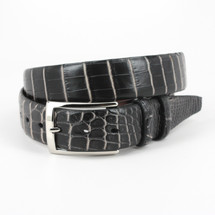 Genuine Crocodile Belt Two-Tone Black/White