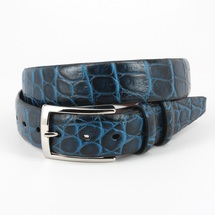 Genuine Crocodile Belt Two-Tone Navy/Blue