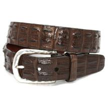 Genuine Hornback Crocodile Belt Brown