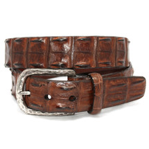 Genuine Hornback Crocodile Belt Cognac