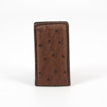 Genuine Ostrich Magnetic Money Clip Brown