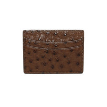 Genuine Ostrich Card Case Brown