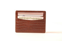 Genuine Alligator Credit Card Case Cognac