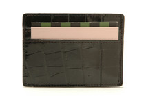 Spring Clip Genuine Alligator Wallet Glazed Black