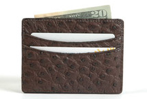 Genuine Ostrich Credit Card Case Brown
