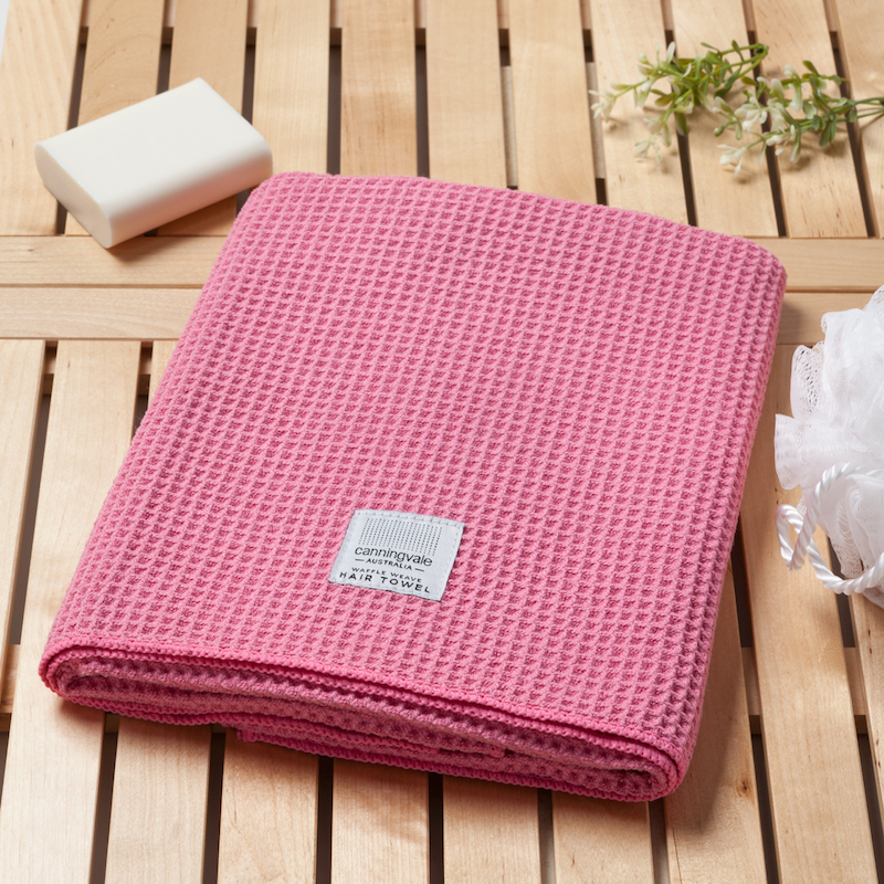 Luxe Waffle Weave Hair Towel - Pink