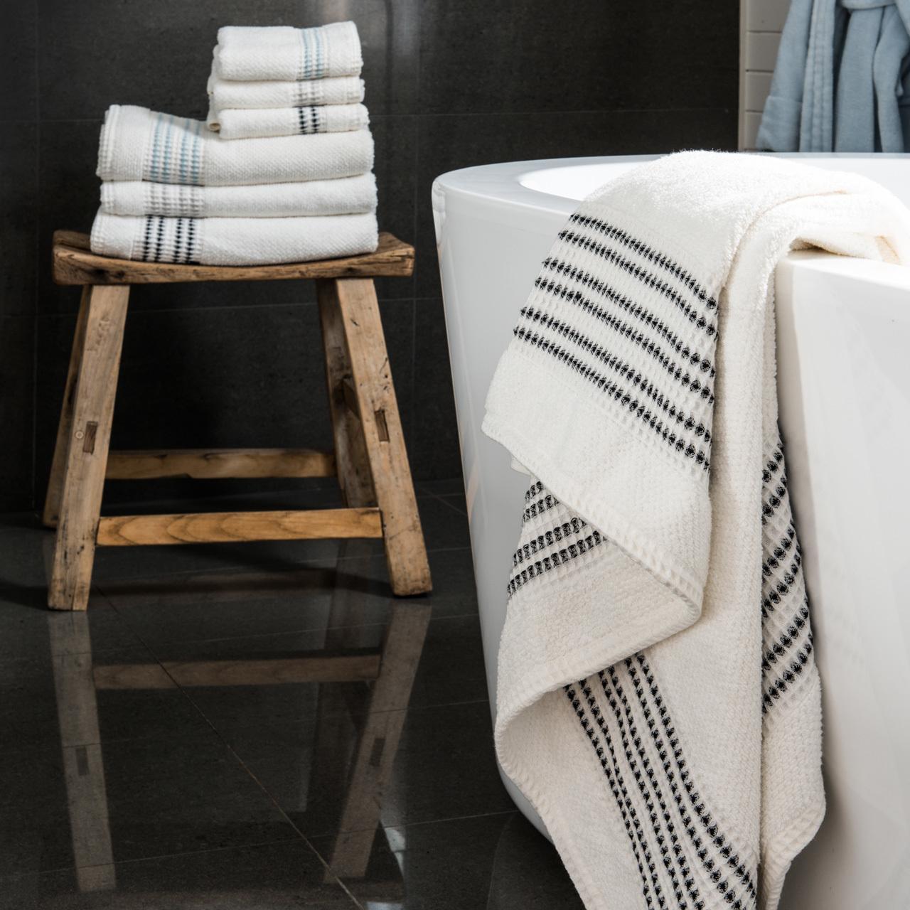 Waffle Border Bath Towel Canningvale