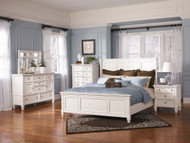 Prentice White 6 Pc. Dresser, Mirror, King Panel Bed & Nightstand