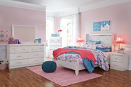 Dreamur Champagne Dresser, Mirror & Full Panel Bed