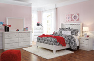 Dreamur Champagne Dresser, Mirror, Chest & Full Panel Bed