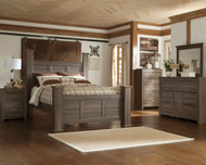 Juararo Dark Brown 7 Pc. Dresser, Mirror, Queen Poster Bed & 2 Nightstands