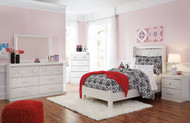 Dreamur Champagne Dresser, Mirror, Chest, Twin Panel Bed & Nightstand