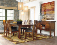 Ralene Medium Brown 8 Pc. Rectangular Dining Room Butterfly Extension Table, 6 Upholstered Side Chairs & Server