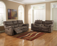 Alzena Gunsmoke Reclining Sofa & Double Rec Loveseat with Console